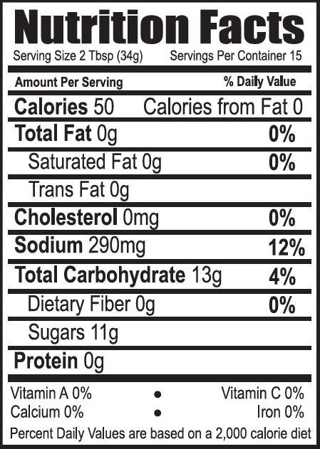 Nutrition Fact 16oz Bon Fire Delight